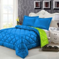 Swiss Comforts Down Alternative Reversible King Comforter Set in Blue/Lime
