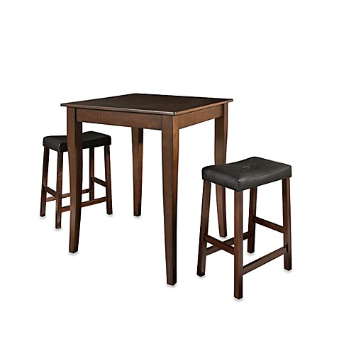 Crosley Pub 3-Piece Set with Cabriole Legs and Saddle Stools in Mahogany