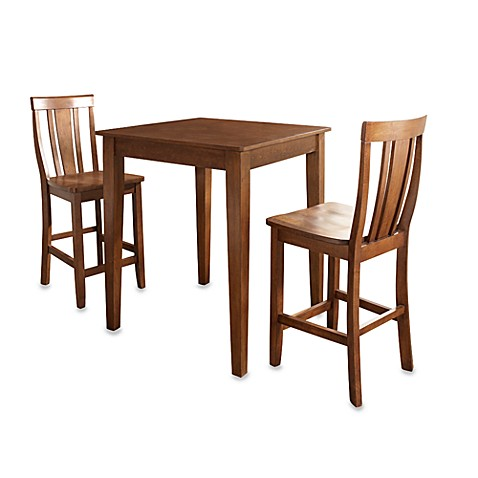 Crosley Pub 3-Piece Dining Set with Tapered Leg and Shield-Back Stools in Cherry