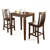 Crosley Pub Set with Tapered Legs & School House Stools (3-Piece Set) in Mahogany