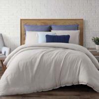 Brooklyn Loom Chambray Loft King Duvet Cover Set in Silver Grey