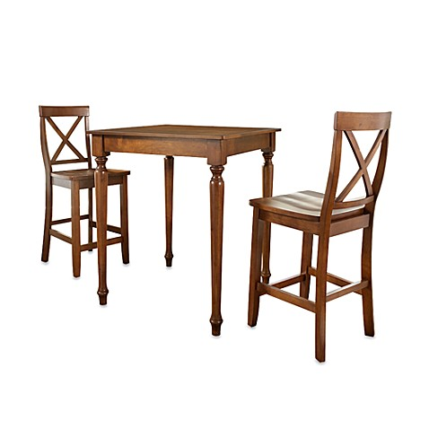 Crosley 3-Piece Pub Dining Set with Turned Legs and X-Back Stools in Cherry