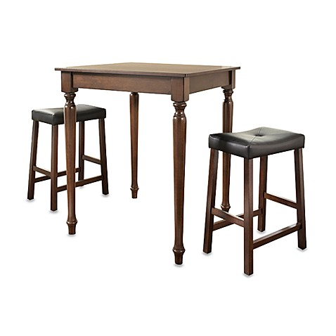Crosley 3-Piece Pub Dining Set with Turned Legs and Saddle Stools in Mahogany