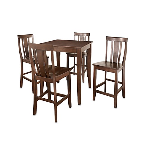 Crosley Cabriole Leg 5-Piece Pub Dining Set with Shield-Back Stools in Mahogany