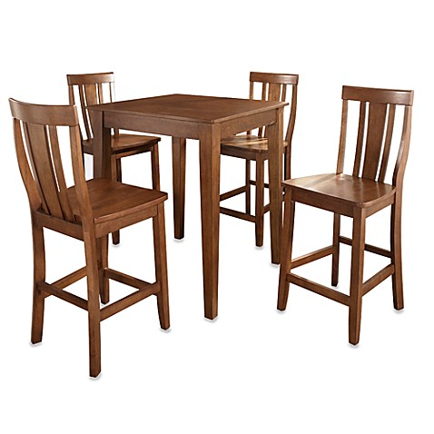 Crosley Tapered Leg Pub Dining Set with Shield-Back Stools (5-Piece Set) in Cherry