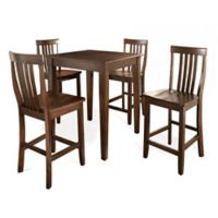 Crosley Tapered Leg Pub Set with School House Style Stools (5-Piece Set) in Mahogany