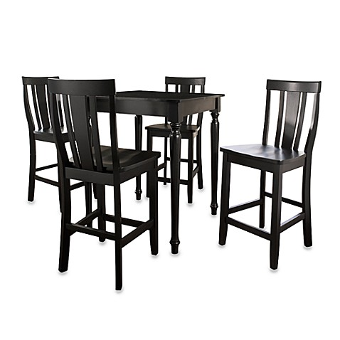 Crosley 5-Piece Pub Dining Set with Turned Legs and Shield-Back Stools in Black