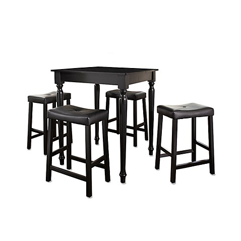 Crosley 5-Piece Pub Dining Set with Turned Legs and Saddle Stools in Black
