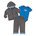 Yoga Sprout® Size 12-18M 3-Piece Elephant Bodysuit, Jacket, and Pant Set in Blue