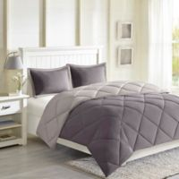 Madison Park Essentials Larkspur Reversible 3M Scotchgard King Comforter Set in Charcoal Grey