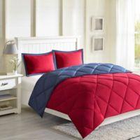 Madison Park Essentials Larkspur 3M Scotchgard Twin/Twin XL Comforter Set in Red/Navy