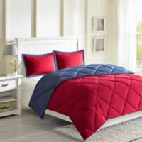 Madison Park Essentials Larkspur Reversible 3M Scotchgard Full/Queen Comforter Set in Red/Navy