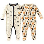 Hudson Baby® Size 3-6M 2-Pack Woodland Sleep & Play Footie