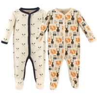 Hudson Baby® Size 6-9M 2-Pack Woodland Sleep & Play Footie
