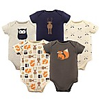 Hudson Baby® Size 9-12M 5-Pack Woodland Bodysuits in Beige