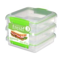 Sistema® Fresh™ Sandwich Box in Green (Set of 3)