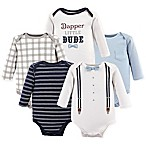 Little Teasure Size 0-3M 5-Pack Dapper Long Sleeve Bodysuits in White