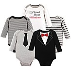 Little Treasures Size 0-3M 5-Pack Tuxedo Bodysuits in Black