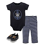 Little Treasure Nautical Size 0-3M 3-Piece Short Sleeve Bodysuit, Pant and Shoe Set in Blue