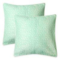 Lullaby Bedding Unicorn European Pillow Sham in Light Green/White (Set of 2)