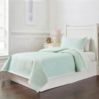 Lullaby Bedding Unicorn 3-Piece Full/Queen Quilt Set in Light Green/White