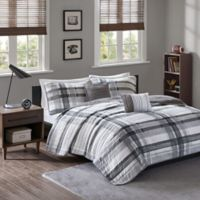 Intelligent Design Rudy Plaid Twin/Twin XL Printed Coverlet Bedding Set in Black/Grey