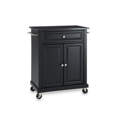 Crosley Black Granite Top Rolling Portable Kitchen Cart/Island In Black