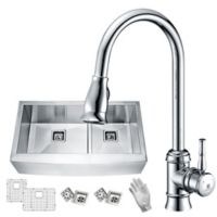 Anzzi KAZ33204AS-044 33-Inch Optional Mount Double Bowl Kitchen Sink with Faucet in Satin Chrome