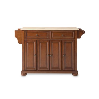 Crosley Alexandria Natural Wood Top Kitchen Island In Cherry