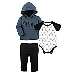 Yoga Sprout Size 3-6M 3-Piece Little Man Jacket, Bodysuit, and Pant Set in Blue