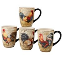 Certified International Gilded Rooster Mugs (Set of 4)