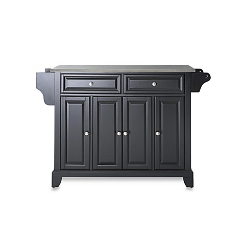 Crosley Newport Stainless Steel Top Kitchen Island in Black