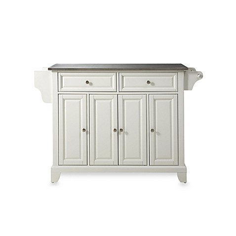 Crosley Newport Stainless Steel Top Kitchen Island in White