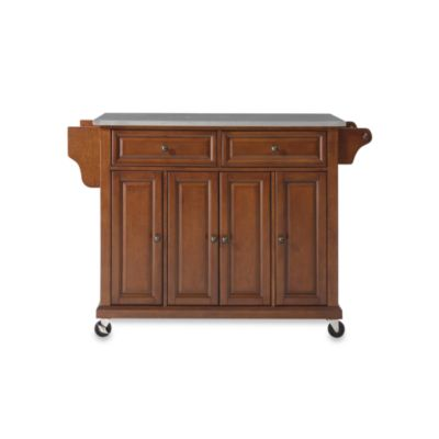 Crosley Rolling Kitchen Cart Island With Stainless Steel Top In Cherry