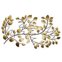 Tree Leaf 4-Bottle Hanging Wine Rack in Gold