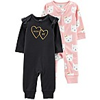 carter's® Size 3M 2-Pack Kitty Coveralls in Pink/Black