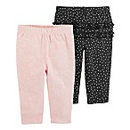 carter's® Size 3M 2-Pack Pull-On Pants in Pink/Black