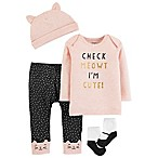 carter's® Size 3M 4-Piece Kitty Pant, Shirt, Cap and Sock Set in Pink