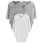 carter's® Size 3M 3-Pack Elephant Clouds Long Sleeve Bodysuits in Grey