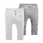 carter's® Size 3M 2-Pack Elephant Clouds Pull-On Pants in Grey