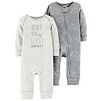 carter's® Size 3M 2-Pack Elephant Clouds Coveralls in Grey