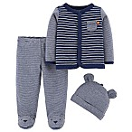 carter's® Newborn 3-Piece Bear Shirt, Footed Pant, and Cap Set in Navy