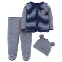 carter's® Size 3M 3-Piece Bear Shirt, Footed Pant, and Cap Set in Navy