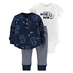 carter's® Size 3M 3-Piece Lion Thermal Shirt, Bodysuit, and Pant Set in Navy