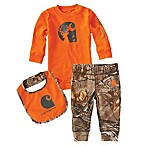 Carhartt® Size 12M 3-Piece Deer Bodysuit, Bib, and Pant Set in Orange/Camo
