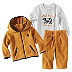 Carhartt® Size 3M 3-Piece Stay Wild Jacket, Shirt, and Pant Set in Brown/White
