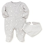 Little Me® Size 3M 2-Piece Stars Footie and Bandana Bib Set in Grey