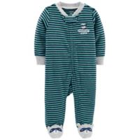 carter's® 9M Raccoon Zip-Up Terry Sleep & Play in Green/Navy