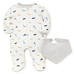 Little Me® Newborn 2-Piece Animals Footie and Bandana Bib Set in White/Grey