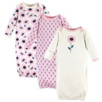 Touched by Nature Size 0-6M Blossoms 3-Pack Organic Cotton Gowns in Pink